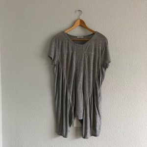 Grey Knit Long Length Top Flowy Oversized